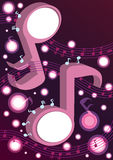 Abstract Music Notes Dancing_eps. Illustration of abstract music notes dancing with purple background Stock Image