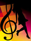 Abstract music notes design for music background use. An illustration of girl dancing on the abstract music notes design for music background use vector illustration
