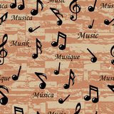 Abstract Music notes seamless pattern. Vector background (wallpaper). Stock Image