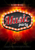 Abstract music party background for music event design. Retro light frame on red flame background. vector illustration. Stock Images