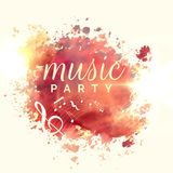 Abstract music party watercolor event template design. Illustration Stock Image