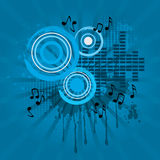 Abstract music sound theme background. Blue illustration royalty free illustration