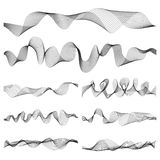 Abstract music sound waves pulse vector set. Digital frequency track equalizer illustration Stock Images