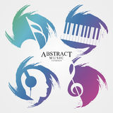 Abstract music symbols. Creative grunge style. Vector Stock Image
