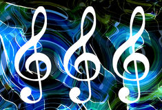 Abstract music theme background with clef, modern design. Royalty Free Stock Image