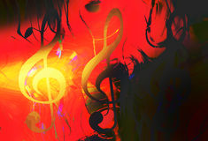 Abstract music theme background with clef, modern design, fire effect. Stock Images
