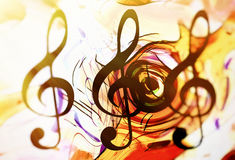 Abstract music theme background with clef, modern design in sun light. Royalty Free Stock Photography