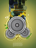 Abstract music theme background with loudspeakers Royalty Free Stock Image