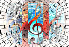 Abstract music theme background with music note and clef, modern design. Royalty Free Stock Image