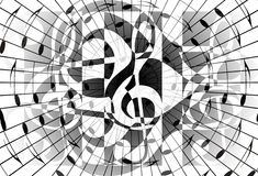 Abstract music theme background with music note and clef, modern design, black and white color. Royalty Free Stock Images