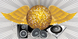 Abstract music theme with disco ball Stock Photo