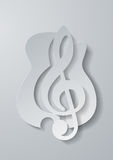 Abstract Music. Treble Clef Cut from Guitar White Paper Backgrou Royalty Free Stock Photography