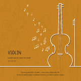 Abstract music violin cover. Graphic vector poster illustration. Modern cute card line background. Sound concept Royalty Free Stock Photography