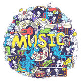 Abstract musical art with funny creatures hand. Draw background design Royalty Free Stock Photo