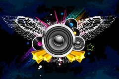 Abstract Musical Background. Illustration of loudspeaker with wings on abstract background Royalty Free Stock Photography