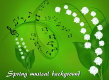 Abstract musical background with a bouquet of lilies of the valley. On a green background with a musical camp and treble clef Stock Image