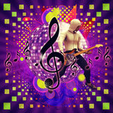 Abstract musical background with guitar player Stock Photography