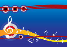 Abstract musical background with music note. S and circle stock illustration