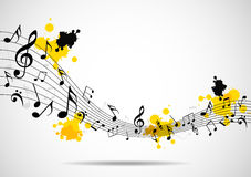 Abstract musical background with notes Stock Photography