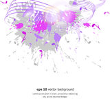 Abstract musical background. Notes, paint spots. Vector stock illustration