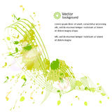 Abstract musical background. Notes, paint spots. Vector royalty free illustration