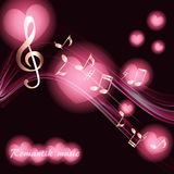 Abstract musical background with notes in the rays of a spotlight pink. In the form of hearts Stock Photos