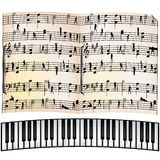 Abstract musical background, objects. Stylized piano keyboard and music sheet Royalty Free Stock Images
