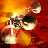 Abstract musical background piano drums and trumpet Royalty Free Stock Image