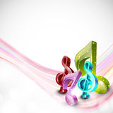 Abstract musical background. Shiny stylish 3D musical notes with pink waves on stylish background stock illustration