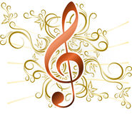 Abstract musical background with treble clef. Stock Photography