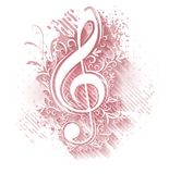 Abstract musical background with treble clef in popular pink ton. Es Royalty Free Stock Image