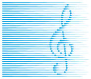 Abstract musical background with treble clef. Simple abstract musical background, light blue treble clef with lines as drops on white background, isolated royalty free illustration