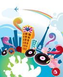Abstract musical city Royalty Free Stock Photography