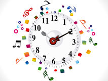 Abstract musical clock background Stock Photo