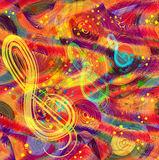 Abstract musical colorful background with rainbow disks. Treble clefs and splash vector illustration