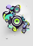Abstract musical composition. With loudspeaker stock illustration