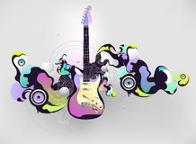 Abstract musical composition. With guitar vector illustration