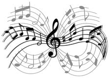 Abstract musical composition. With music elements and notes stock illustration