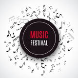 Abstract musical concert flyer with black notes on white background. Royalty Free Stock Photos