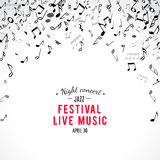 Abstract musical concert flyer with black notes on white background. Stock Image