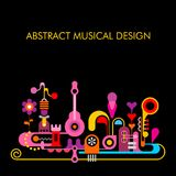 Abstract Musical Design. Bright colors on a black background Abstract Musical Design vector illustration royalty free illustration