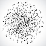 Abstract musical dot with black notes on white background. Royalty Free Stock Photography
