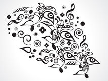 Abstract musical floral objects. Vector illustration Stock Image