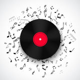 Abstract Musical Frame And Border With Black Notes On White Background. Stock Images