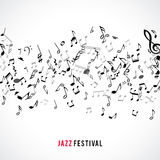 Abstract musical frame and border with black notes on white background. Stock Photos