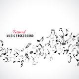 Abstract musical frame and border with black notes on white background. Stock Image