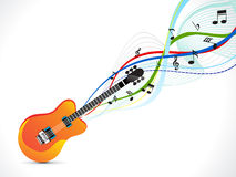 Abstract musical guitar with wave Stock Image