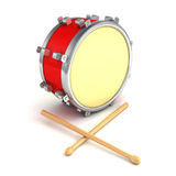 Abstract musical instrument concept drum with pair of drumsticks Stock Photo