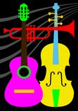 Abstract musical instruments. Abstract music instrument elements, vector illustration. File included Eps v8 and 300 dpi JPG Royalty Free Stock Photography