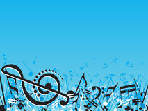 Abstract musical note design elements on blue Stock Image